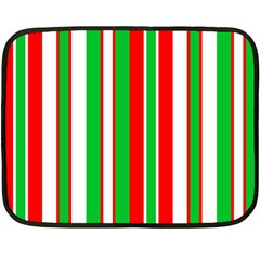 Christmas Holiday Stripes Red green,white Double Sided Fleece Blanket (Mini)