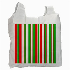 Christmas Holiday Stripes Red green,white Recycle Bag (One Side)
