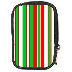 Christmas Holiday Stripes Red Green,white Compact Camera Cases
