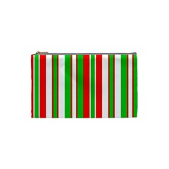 Christmas Holiday Stripes Red green,white Cosmetic Bag (Small)