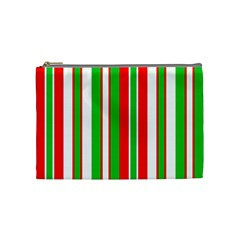 Christmas Holiday Stripes Red green,white Cosmetic Bag (Medium)