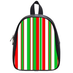 Christmas Holiday Stripes Red green,white School Bags (Small)