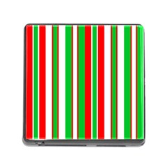 Christmas Holiday Stripes Red green,white Memory Card Reader (Square)