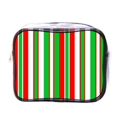 Christmas Holiday Stripes Red green,white Mini Toiletries Bags