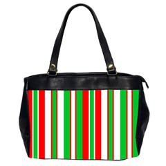 Christmas Holiday Stripes Red green,white Office Handbags (2 Sides)