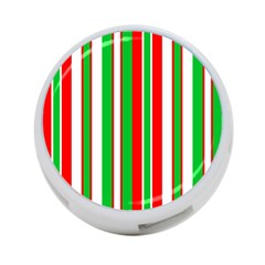 Christmas Holiday Stripes Red green,white 4-Port USB Hub (One Side)