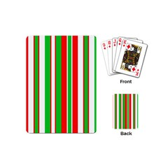 Christmas Holiday Stripes Red green,white Playing Cards (Mini)