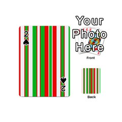 Christmas Holiday Stripes Red green,white Playing Cards 54 (Mini)
