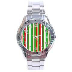 Christmas Holiday Stripes Red green,white Stainless Steel Analogue Watch