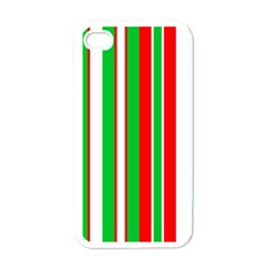 Christmas Holiday Stripes Red green,white Apple iPhone 4 Case (White)