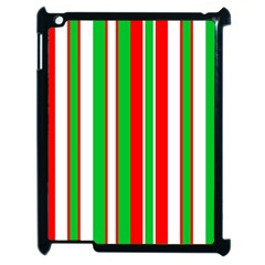 Christmas Holiday Stripes Red green,white Apple iPad 2 Case (Black)