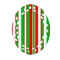 Christmas Holiday Stripes Red green,white Ornament (Oval Filigree)