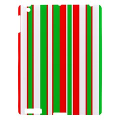 Christmas Holiday Stripes Red green,white Apple iPad 3/4 Hardshell Case