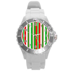 Christmas Holiday Stripes Red green,white Round Plastic Sport Watch (L)