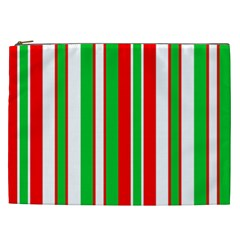 Christmas Holiday Stripes Red Green,white Cosmetic Bag (xxl)