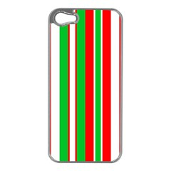 Christmas Holiday Stripes Red green,white Apple iPhone 5 Case (Silver)