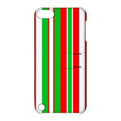 Christmas Holiday Stripes Red green,white Apple iPod Touch 5 Hardshell Case with Stand