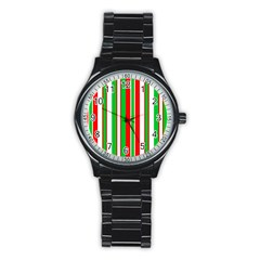 Christmas Holiday Stripes Red green,white Stainless Steel Round Watch
