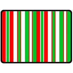 Christmas Holiday Stripes Red green,white Double Sided Fleece Blanket (Large)