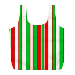 Christmas Holiday Stripes Red green,white Full Print Recycle Bags (L)