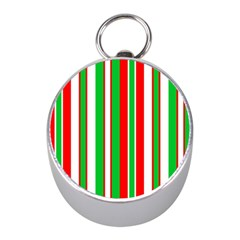 Christmas Holiday Stripes Red Green,white Mini Silver Compasses
