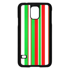 Christmas Holiday Stripes Red green,white Samsung Galaxy S5 Case (Black)