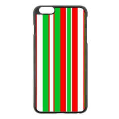 Christmas Holiday Stripes Red green,white Apple iPhone 6 Plus/6S Plus Black Enamel Case