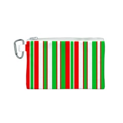 Christmas Holiday Stripes Red green,white Canvas Cosmetic Bag (S)