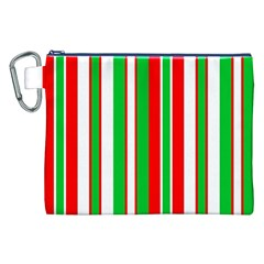 Christmas Holiday Stripes Red green,white Canvas Cosmetic Bag (XXL)