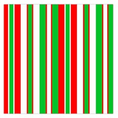 Christmas Holiday Stripes Red green,white Large Satin Scarf (Square)