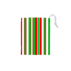 Christmas Holiday Stripes Red green,white Drawstring Pouches (XS)