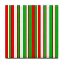 Christmas Holiday Stripes Red green,white Tile Coasters
