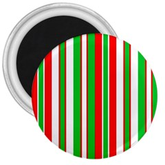 Christmas Holiday Stripes Red green,white 3  Magnets