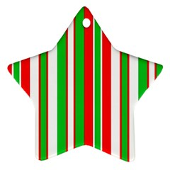 Christmas Holiday Stripes Red green,white Ornament (Star)
