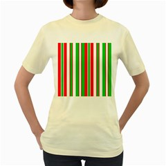 Christmas Holiday Stripes Red green,white Women s Yellow T-Shirt
