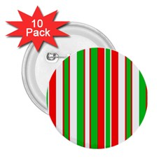 Christmas Holiday Stripes Red green,white 2.25  Buttons (10 pack)