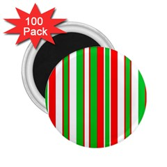 Christmas Holiday Stripes Red green,white 2.25  Magnets (100 pack)