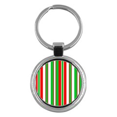 Christmas Holiday Stripes Red green,white Key Chains (Round)
