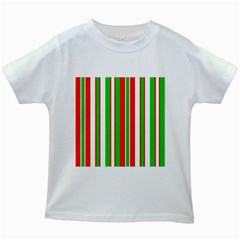 Christmas Holiday Stripes Red green,white Kids White T-Shirts