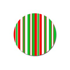 Christmas Holiday Stripes Red Green,white Magnet 3  (round)