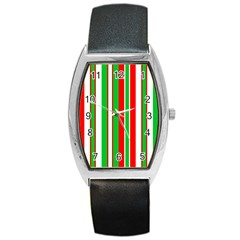 Christmas Holiday Stripes Red green,white Barrel Style Metal Watch