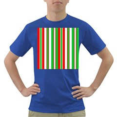 Christmas Holiday Stripes Red green,white Dark T-Shirt