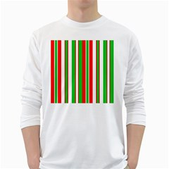 Christmas Holiday Stripes Red green,white White Long Sleeve T-Shirts