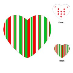 Christmas Holiday Stripes Red green,white Playing Cards (Heart)