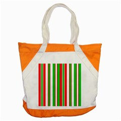 Christmas Holiday Stripes Red green,white Accent Tote Bag