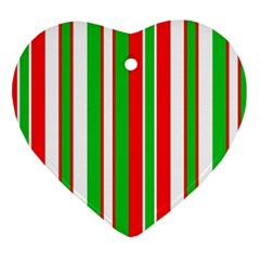 Christmas Holiday Stripes Red green,white Heart Ornament (Two Sides)