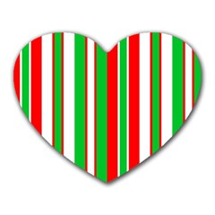 Christmas Holiday Stripes Red green,white Heart Mousepads