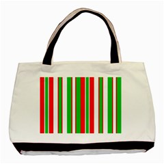Christmas Holiday Stripes Red Green,white Basic Tote Bag (two Sides)