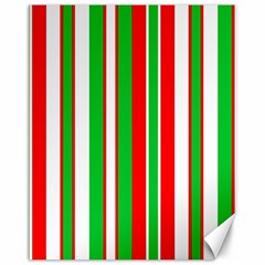 Christmas Holiday Stripes Red green,white Canvas 11  x 14