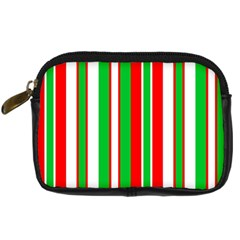 Christmas Holiday Stripes Red green,white Digital Camera Cases